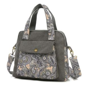 Floral Patterned Canvas Top-Handle Bags