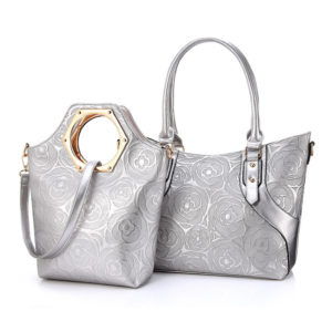 Women's Rose Printed Bags with 2 pcs Set